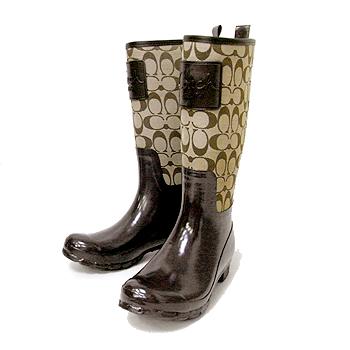 Coach brown rain boots
